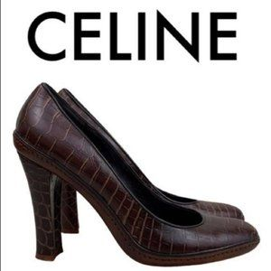 CELINE BROWN CROC EMBOSSED HEELS SIZE 8.5